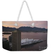 Aerial View Of Canada Place At Sunse Weekender Tote Bag