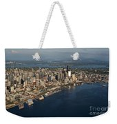 Aerial View Of Seattle Skyline With Elliott Bay And Ferry Boat Weekender Tote Bag