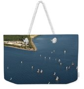Aerial View Of Seattle Skyline With Sailboat Race On Puget Sound Weekender Tote Bag