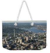 Aerial View Of Space Needle And Lake Union Weekender Tote Bag