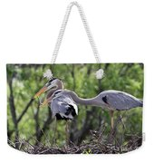 Affectionate Great Blue Heron Mates Weekender Tote Bag