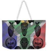 Africa Flag And Tribal Masks Weekender Tote Bag
