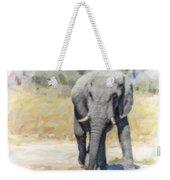 African Elephant At Waterhole Weekender Tote Bag