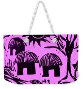 African Huts Pink Weekender Tote Bag by Caroline Street