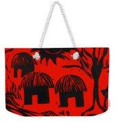 African Huts Red Weekender Tote Bag by Caroline Street