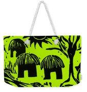 African Huts Yellow Weekender Tote Bag by Caroline Street