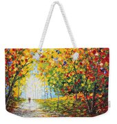 After Rain Autumn Reflections Acrylic Palette Knife Painting Weekender Tote Bag