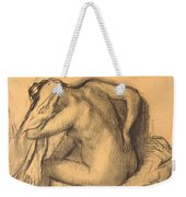 After The Bath .woman Drying Her Hair Weekender Tote Bag