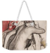 After The Bath.seated Woman Drying Herself Weekender Tote Bag
