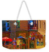 Afternoon Stroll French Bistro Sidewalk Cafe Colors Of Montreal Flags And Umbrellas City Scene Art Weekender Tote Bag
