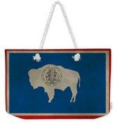 Aged Wyoming State Flag Weekender Tote Bag