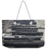 Aircraft Carriers In Port At Naval Weekender Tote Bag by Stocktrek Images