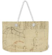 Aircraft Machine Has Been Reduced To Simplest Shape Wings Directly Put On Human Body By Straps  Weekender Tote Bag