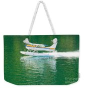 Aircraft Seaplane Taking Off On Calm Water Of Lake Weekender Tote Bag
