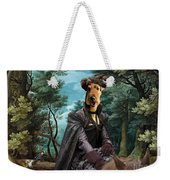 Airedale Terrier Art Canvas Print - Forest Landscape With Deer Hunting And Noble Lady Weekender Tote Bag