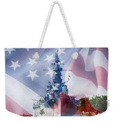 Battleship Alabama And Flag Weekender Tote Bag