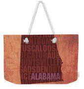 Alabama Word Art State Map On Canvas Weekender Tote Bag