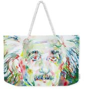 Albert Einstein Watercolor Portrait.1 Weekender Tote Bag