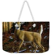 Whitetail Deer - Alerted Weekender Tote Bag by Crista Forest