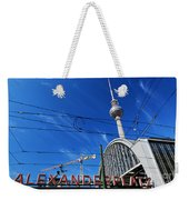 Alexanderplatz Sign And Television Tower Berlin Germany Weekender Tote Bag