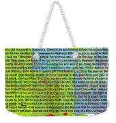 all the writing belongs to Hashem Weekender Tote Bag by David Baruch Wolk
