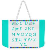 Alphabet Blue Weekender Tote Bag