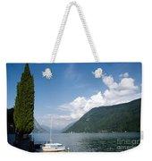 Alpine Lake With A Cypress Tree Weekender Tote Bag