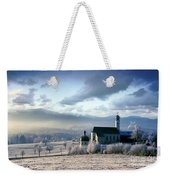 Alpine Scenery With Church In The Frosty Morning Weekender Tote Bag