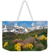 Alpine Sunflower Mountain Landscape Weekender Tote Bag