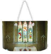 Altar And Stained Glass Window Nether Wallop Weekender Tote Bag