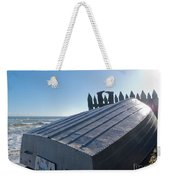 Aluminum Fishing Boat And Boots Drying On Fence Weekender Tote Bag