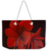 Amaryllis On Black Weekender Tote Bag