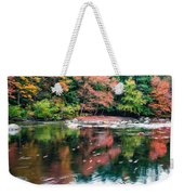 Amazing Fall Foliage Along A River In New England Weekender Tote Bag
