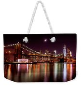 Amazing New York Skyline And Brooklyn Bridge With Moon Rising Weekender Tote Bag