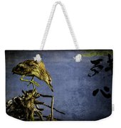 American Bittern With Brush Calligraphy Lingering Mind Weekender Tote Bag