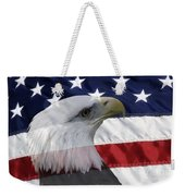 American Flag And Bald Eagle Weekender Tote Bag by Jill Lang