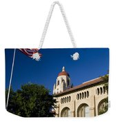 American Flag And Hoover Tower Stanford University Weekender Tote Bag