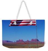 American Flag In Monument Valley Weekender Tote Bag
