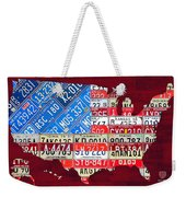 American Flag Map Of The United States In Vintage License Plates Weekender Tote Bag