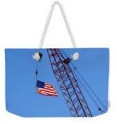 American Flag On Construction Crane Weekender Tote Bag