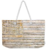 American Flag On Distressed Wood Beams White Yellow Gray And Brown Flag Weekender Tote Bag