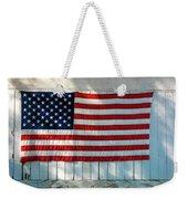 American Flag On Garage After Thomas Weekender Tote Bag