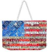 American Flag Recycled License Plate Art Weekender Tote Bag