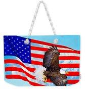 American Flag With Bald Eagle Weekender Tote Bag