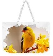 American Goldfinch Branch Of Forsythia Weekender Tote Bag
