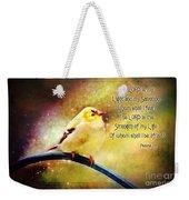 American Goldfinch Gazes Upward  - Series II  Digital Paint With Verse Weekender Tote Bag