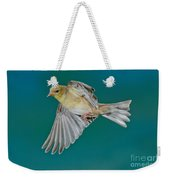 American Goldfinch Hen In Flight Weekender Tote Bag
