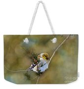 American Goldfinch On A Cedar Twig - Digital Paint Weekender Tote Bag