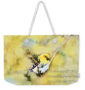 American Goldfinch On A Cedar Twig With Digital Paint And Verse Weekender Tote Bag