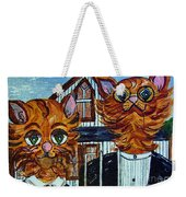 American Gothic Cats - A Parody Weekender Tote Bag